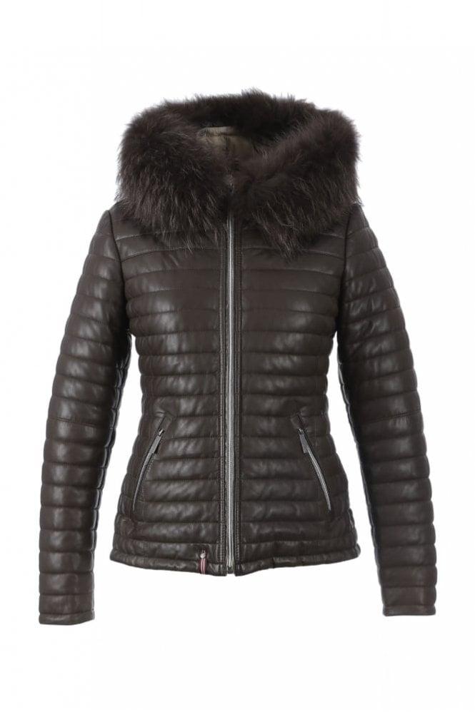 Oakwood Happy Brown Leather Down Jacket with Fur Hood