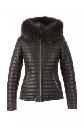 Happy Brown Leather Down Jacket with Fur Hood