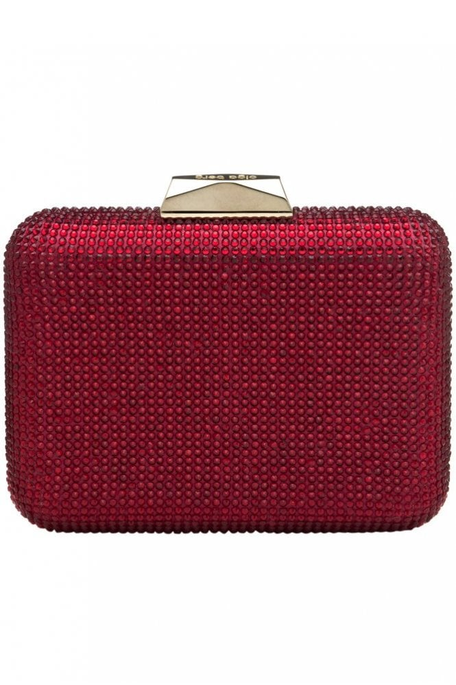Olga Berg Crystal Diamanté Pod Style Clutch in Ruby