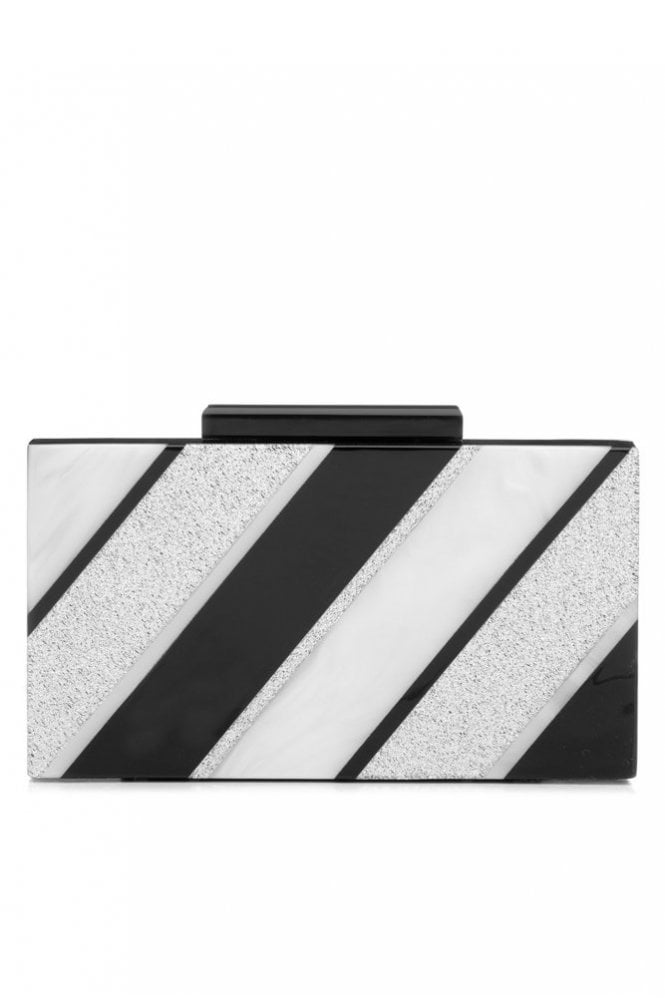 Olga Berg Striped Acrylic Pod Clutch in Black