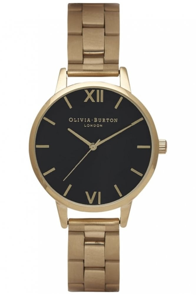 Olivia Burton Midi Dial Bracelet Black Dial and Gold