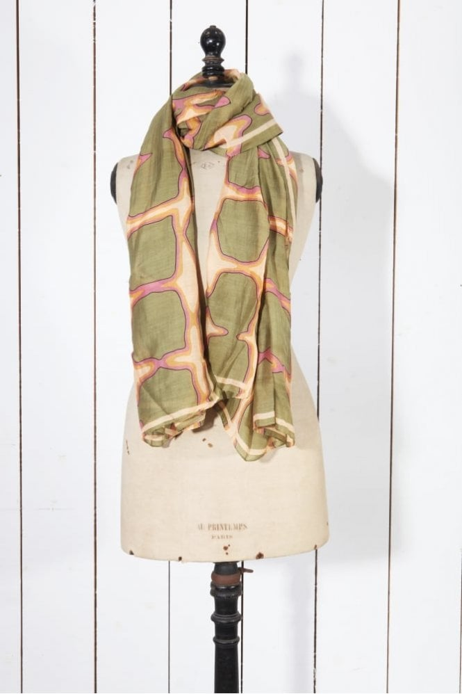 One Hundred Stars Cubes Scarf in Beige