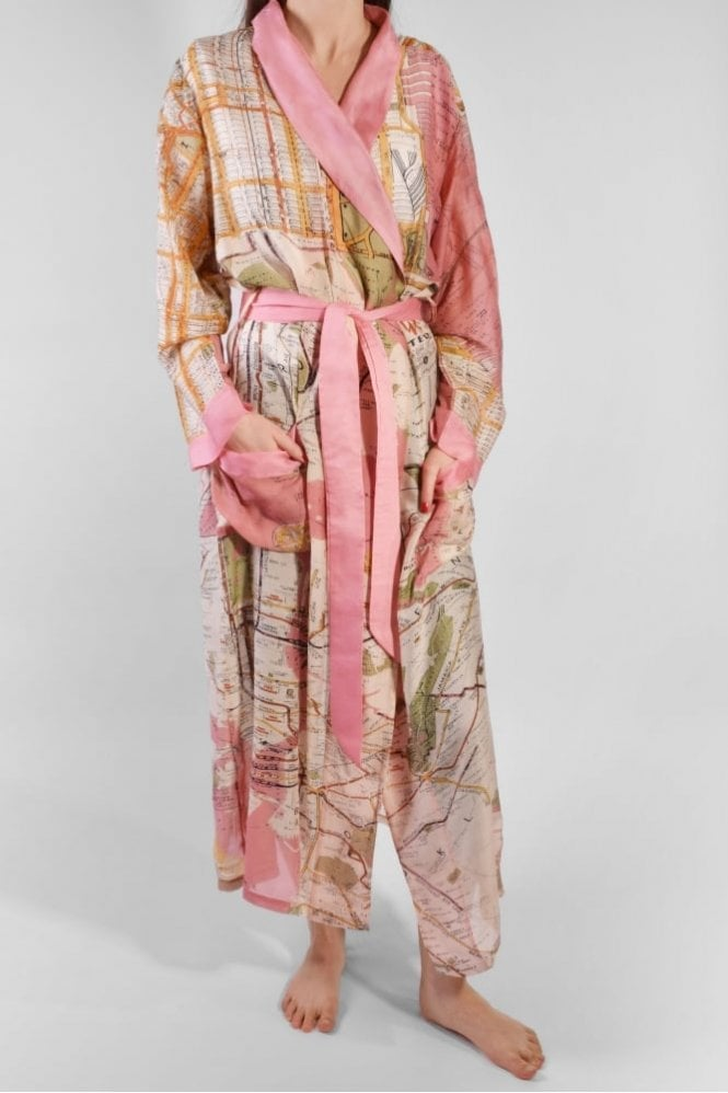 One Hundred Stars NYC Dressing Gown in Pink