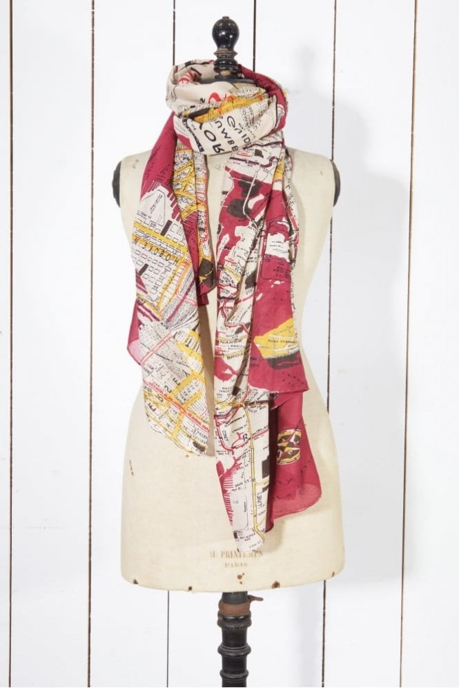 One Hundred Stars NYC Scarf in Burgundy