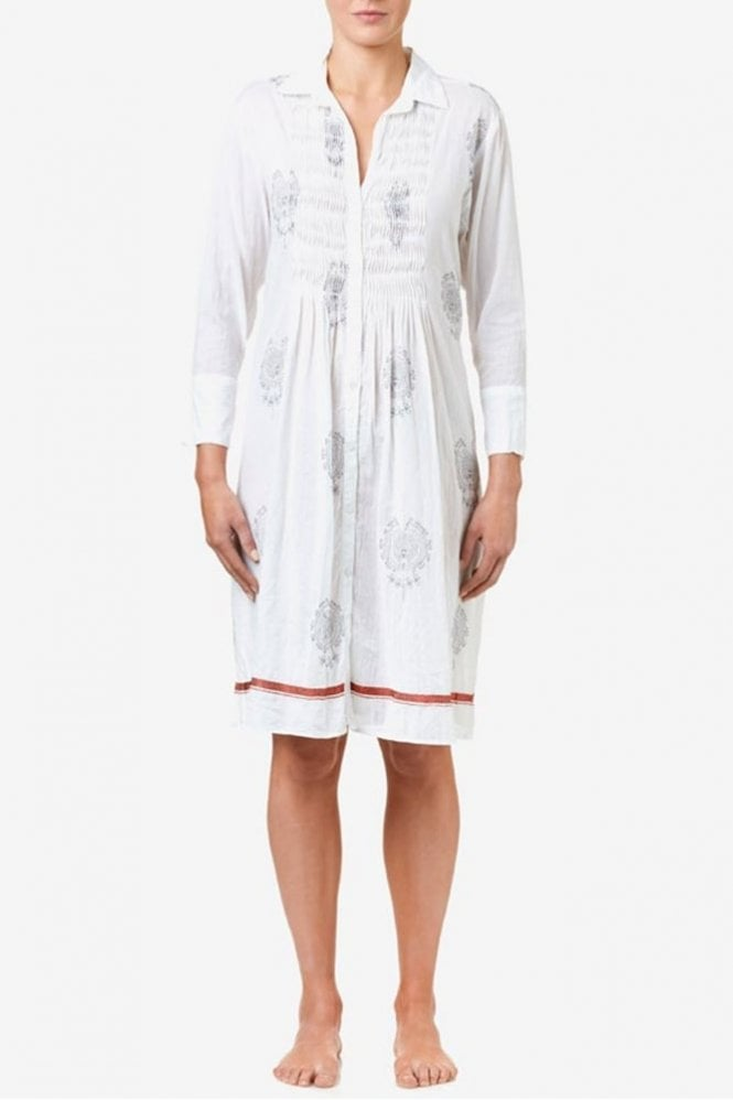 One Season Nessy Cotton Dress in White/Ink