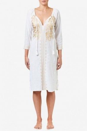 Salma Cotton Dress in White/Champagne