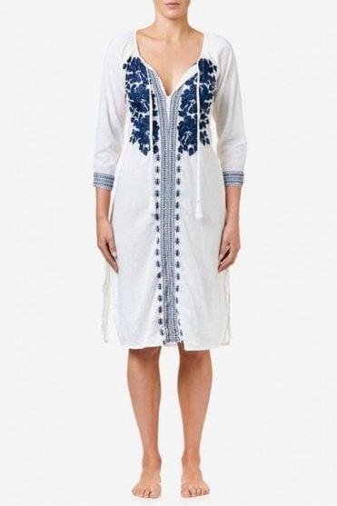 Salma Cotton Dress in White/Navy