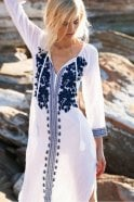 One Season Salma Cotton Dress in White/Navy