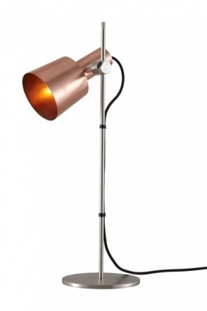 Chester Table Light in Satin Copper and Black Braided Cable