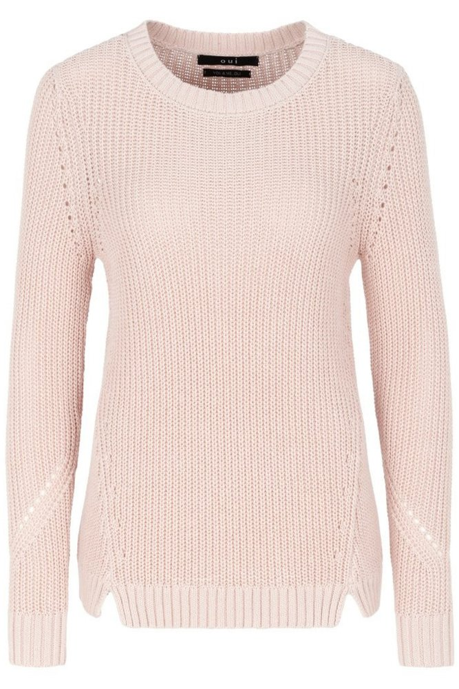 Oui Chunky Knit Sweater in Pale Pink at Sue Parkinson