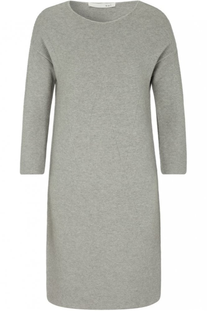Oui Dress in Ottoman Design in Light Grey