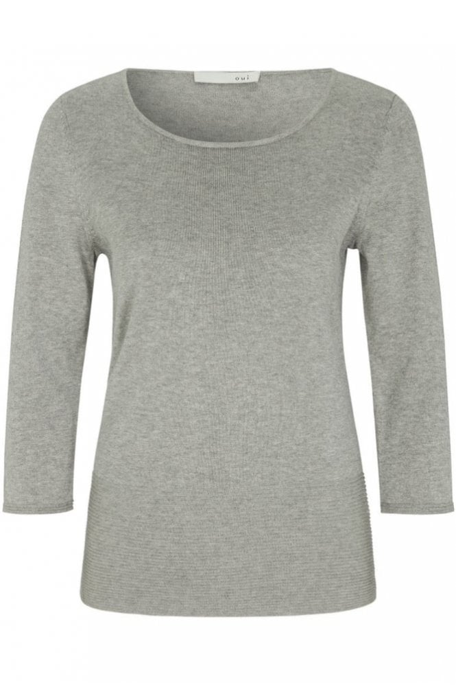 Oui Fine Knit Jumper in Light Grey
