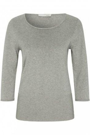 Fine Knit Jumper in Light Grey