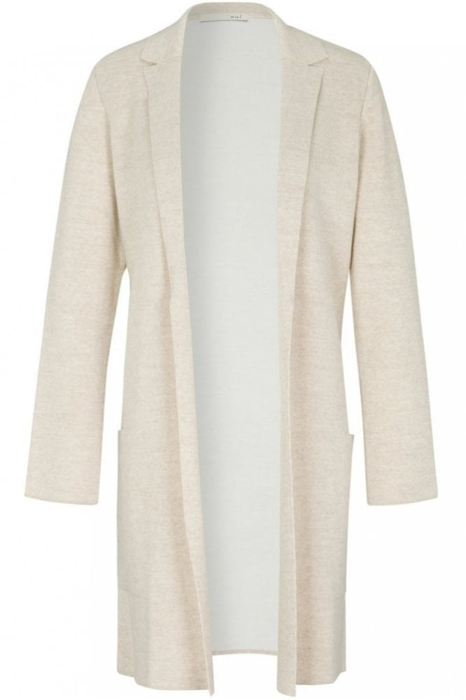 Oui Knitted Coat in White/Off White