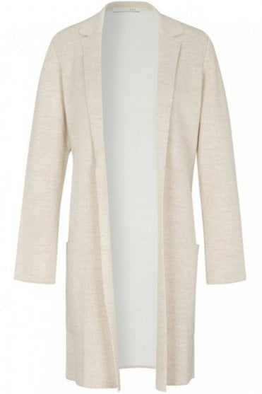 Knitted Coat in White/Off White