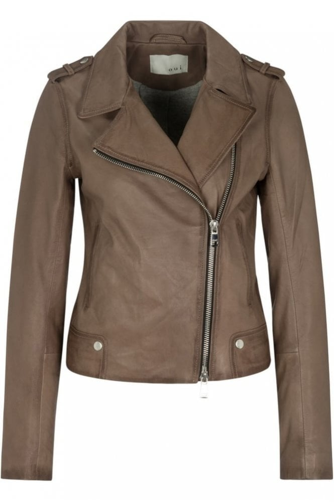 Oui Leather Jacket in Fungi