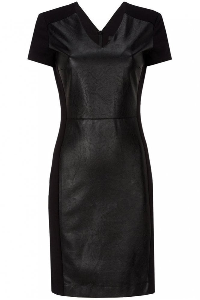 Oui Patch Dress with Faux Leather in Black