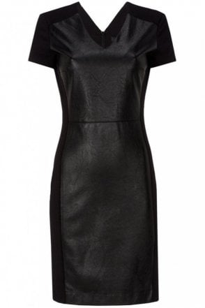 Patch Dress with Faux Leather in Black