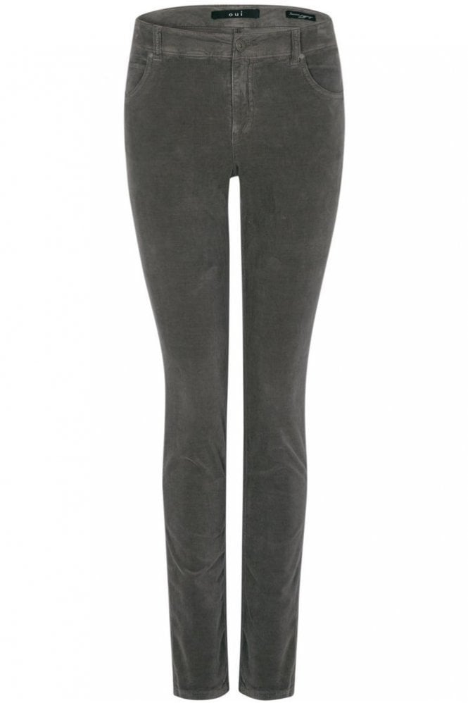 Oui Sienna Corduroy Slim Fit Jeggings in Dark Taupe
