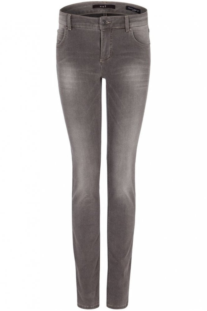 Oui Sienna Slim Fit Power Stretch Denim Jegging in Grey