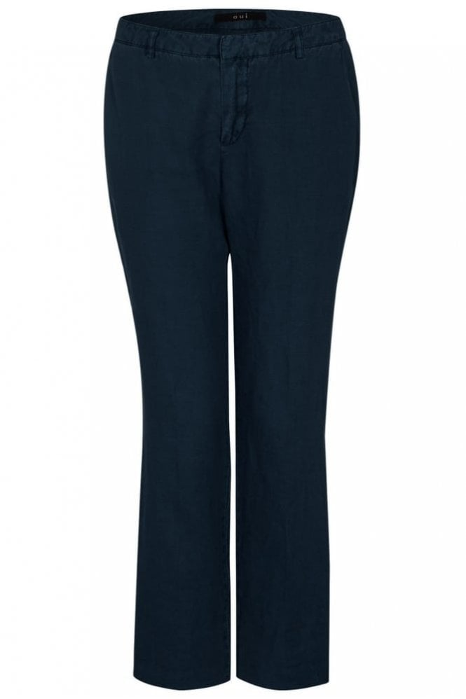 Oui Stella Straight Leg Linen Trousers in Night-sky