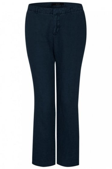 Stella Straight Leg Linen Trousers in Night-sky