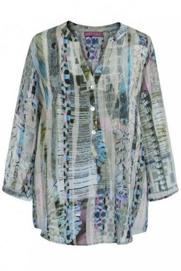 Lace Stripe Blue – Crepe de Chine V Neck Shirt