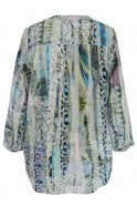 Pazuki Lace Stripe Blue – Crepe de Chine V Neck Shirt