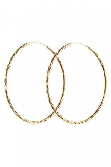 Large Facet Creol Earrings in Gold