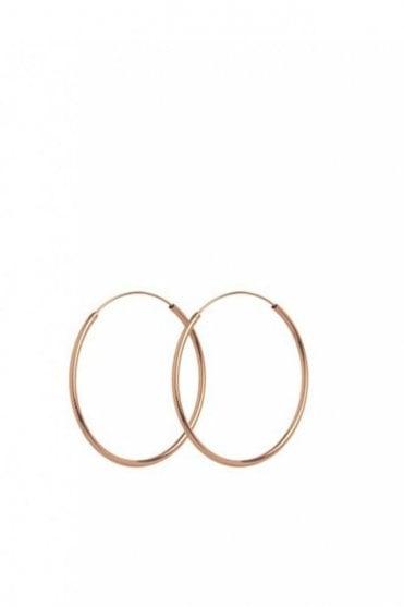 Midi Plain Hoop Earrings in Rose Gold