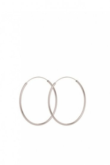 Midi Plain Hoop Earrings in Silver