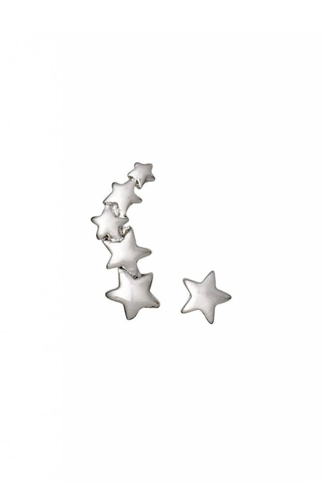 Pilgrim Ava Silver Plated Star Cuff and Stud Earrings