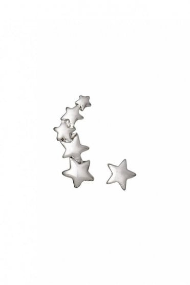 Ava Silver Plated Star Cuff and Stud Earrings