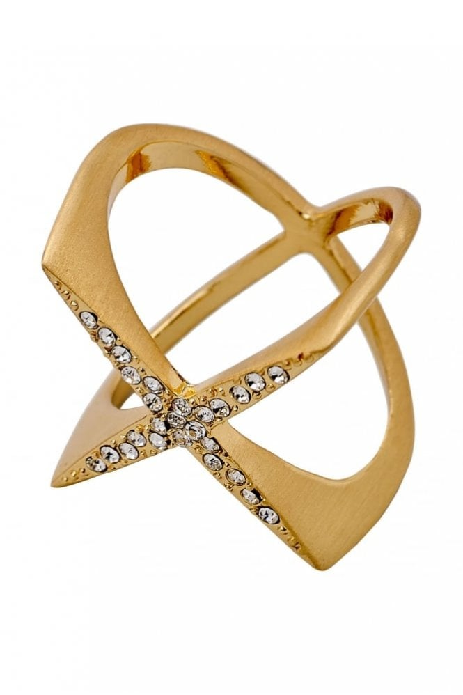 Pilgrim Winter Gold Plated Crystal Ring