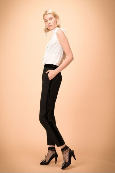 Cornice Crepe Trousers with Velour Bands