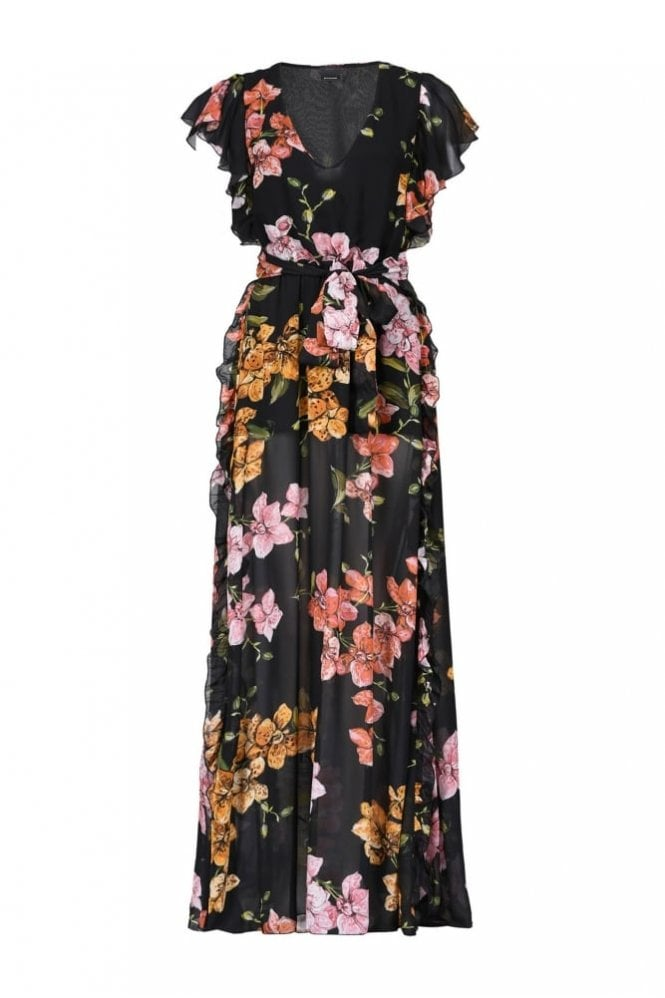Pinko Georgette Dress with Floral Pattern
