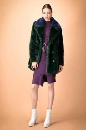 Stendino Double Breasted Faux Fur Coat