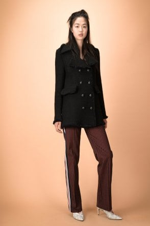 Vassetto Tweed Coat with Fringed Edges