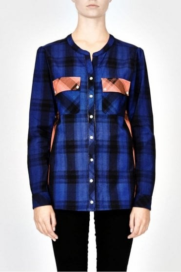 Alabama Check Shirt in Cobalt Blue