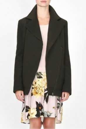 Cooper Long Biker Jacket in Olive