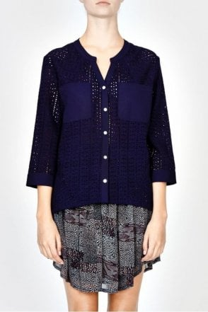 Isolde Cotton Lace Blouse in Indigo