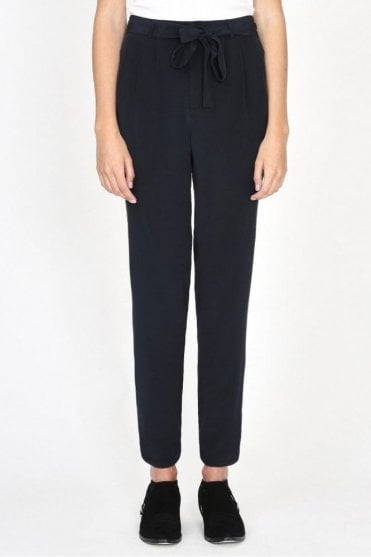 Leo Silk Trouser in Charcoal
