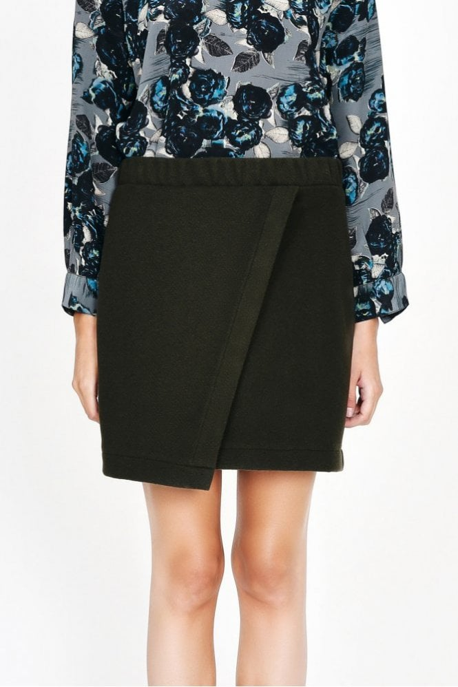 Pyrus Onyx Faux Wrap Skirt in Olive