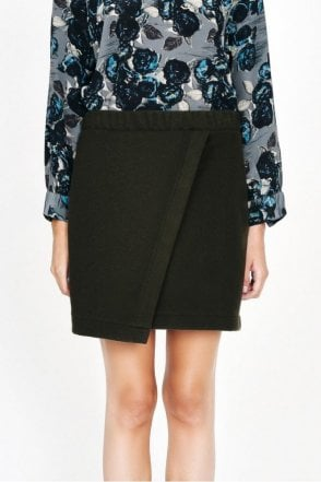 Onyx Faux Wrap Skirt in Olive