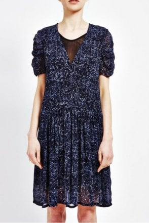 Ulla Ruched Sleeved Dress in Batik Print