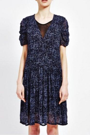 Ulla Ruched Sleeved Dress in Batik Print