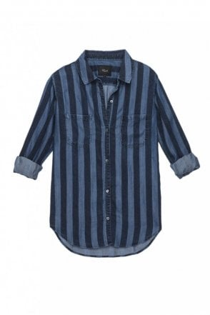 Carter Shirt in Indigo Block Stripe