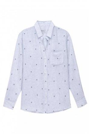 Charli Shirt in Mini Palms on Royal Stripe