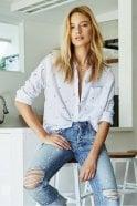 Rails Charli Shirt in Mini Palms on Royal Stripe