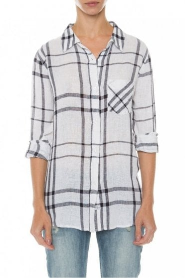 Charli Shirt in Vanilla/Navy Plaid